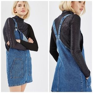 Topshop MOTO True Denim Pinafore Dress
